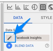 "Blue arrow pointing to the pencil ""edit"" icon for the data source"