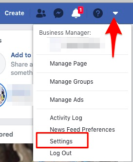 "Red arrow pointing to the additional settings menu in Facebook and then highlighting the ""settings"" option in the drop-down"