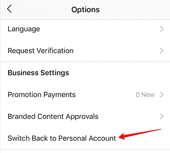 "Red arrow points to menu option ""Switch Back to Personal Account"""