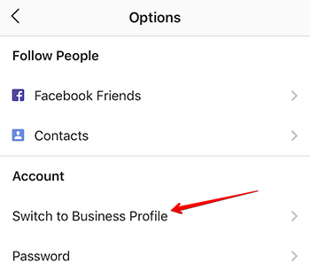"Red arrow pointing to the menu option to ""Switch to Business Profile"""