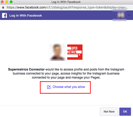 Example permissions pop-up allowing the user to confirm Supermetrics access to their Instagram business account