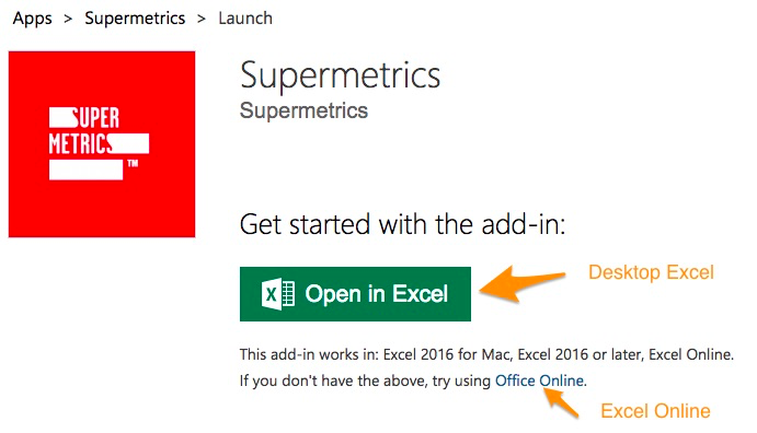 "Orange arrow points to green button to ""Open in Excel"" with another arrow pointing the ""Office Online"" link"