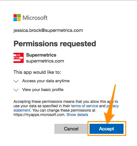 "Dialog asking for permissions for the app to work. Orange arrow points to blue ""Accept"" button to proceed"