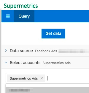 "Example showing the ad account ""Supermetrics Ads"" has been selected for the account"