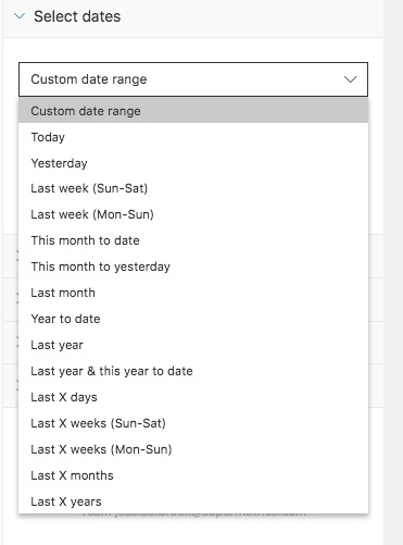 Showing the date range option available for the query.