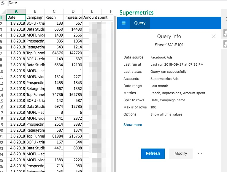 Example query results with query overview in the sidebar