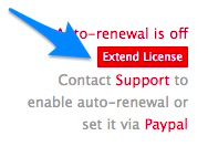 """Blue arrow pointing to red """"Extend License"""" button for renewing PayPal"""