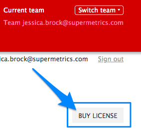 "Blue arrow points to ""BUY LICENSE"" button to allow you to purchase additional licenses"