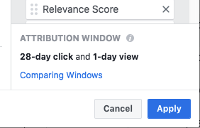 Example attribution window setting showing the default 28-day click, 1-day view windows