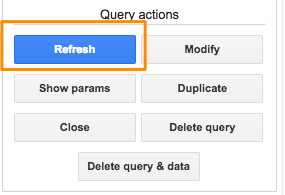 "Orange box highlighting the blue ""Refresh"" button in the sidebar to manually refresh queries"