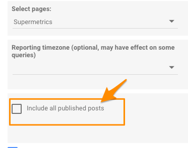 "Orange arrow pointing to setting to ""Include all published posts"""