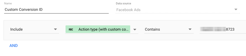 Example filter setup in Data Studio to show only the custom conversion based in ID