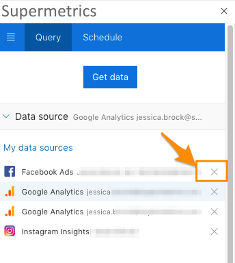 Orange Arrow pointing to X icon to remove the data source login