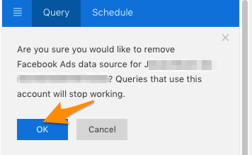 Orange arrow points to blue OK button to confirm the user will be removed and the queries that used that account will stop working (until you log in again)