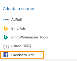 Orange box around the example Facebook Ads data source to log back in.