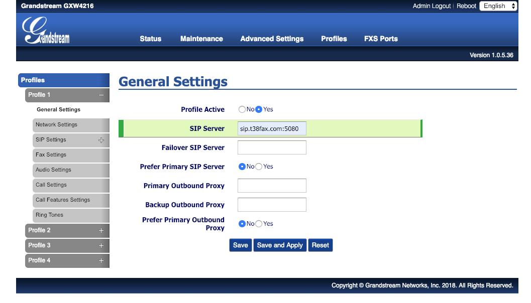 Grandstream GXW4200 - Profile 1 - General Settings