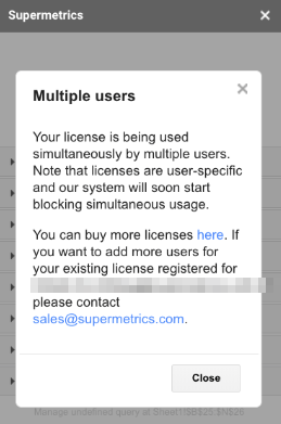 Example error text for using the same license account simultaneously.