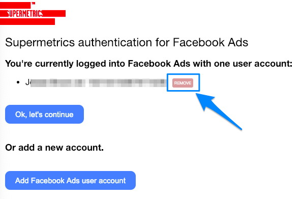 Blue arrow pointing to the red REMOVE button next to the user account for Facebook Ads