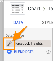 "Orange arrow points to pencil-shaped ""edit"" icon for the data source"