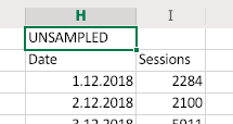 Example unsampled data in Excel using the option to add a note to the results.