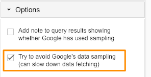 Avoid sampling option in Google Sheets