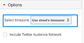 "Blue box highlighting the option to ""Select timezone"" for Google Sheets"