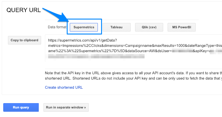 "Blue arrow points to ""Supermetrics"" button to format the results in JSON"