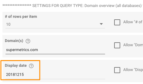 "Example setup for ""Display date"" field for getting domain overview data for December 2018"