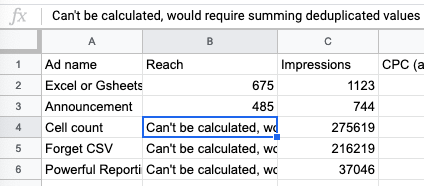 "Example query result showing the ""can't be calculated..."" message for Facebook reach"
