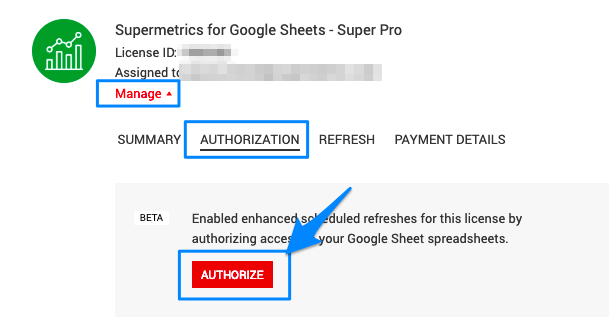 """Blue boxes show the path to get to the """"AUTHORIZE"""" button to enable the feature."""