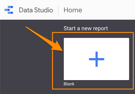 "Orange arrow pointing to blank ""new report"" image in Data Studio dashboard"