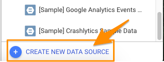 "Orange arrow pointing to option to ""Create new data source"" when appears when opening a new report"
