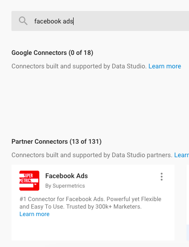 Example search for Facebook ads in the partner connector list