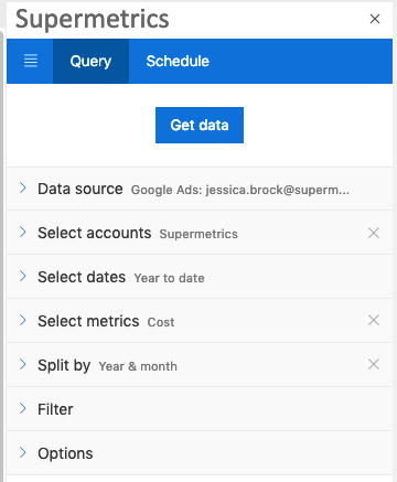 "Showing new query with copied details in the sidebar, with option to ""Get data"""