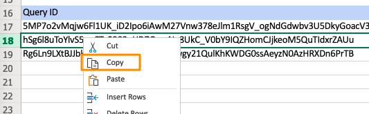 Orange box highlights copy setting for row 18 of the SupermetricsQueries tab
