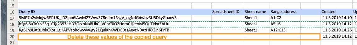 Orange box showing that the Query ID, Sheet name, and Range address fields are empty in row 20 for the copied query