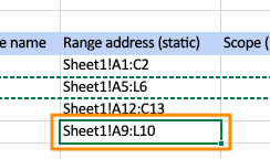 Orange box highlights the updated Range address (static) field for where the new query will be added in the file
