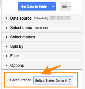 "Orange arrow points to ""Select currency"" setting under Options for Google Sheets version of Criteo"