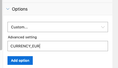 Example advanced setting for EUR currency in Excel for the Criteo connector
