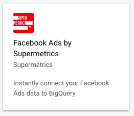 Example BigQuery data source for Facebook Ads