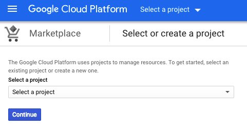 Example page to select the BigQuery project you wish to use the data source in.