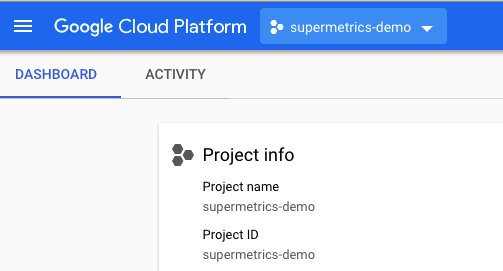Example showing active project info to use with BigQuery