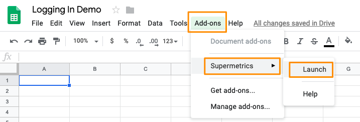 "Orange highlights the path to ""Launch"" the Supermetrics sidebar to get started"