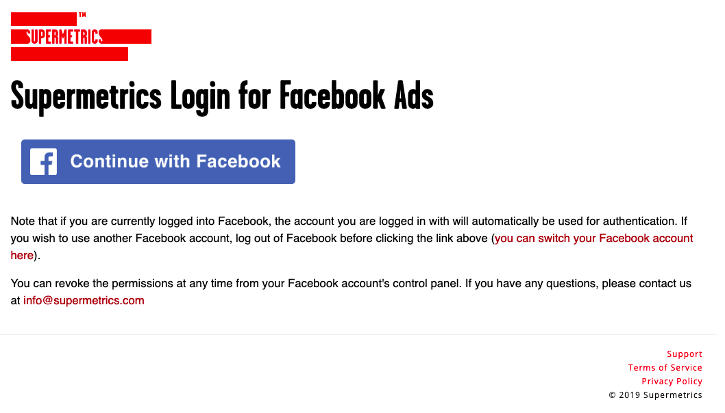 "Example log screen for Facebook Ads - the blue ""Continue with Facebook"" button will take the user through the login process"
