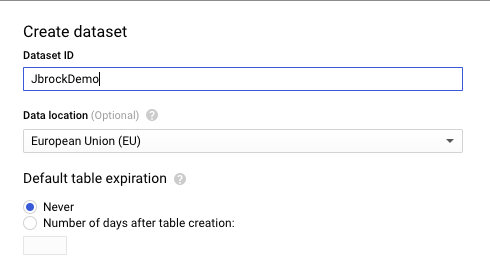 Example setup for a new dataset in BigQuery