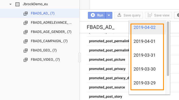 "Orange box highlights the date drop-down for the table ""FBADS_DA_*"" showing the newly added past dates"