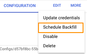 "Orange box highlights ""Schedule backfill"" option in the MORE menu."