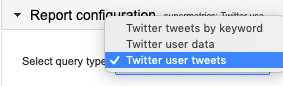 """Twitter user tweets"" is highlighted in blue with a check mark to show it is selected to use for the query."