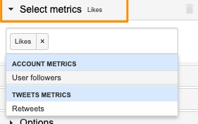 "Orange box highlights the ""Select metrics"" section of the sidebar and also shows the drop-down with the available metrics."