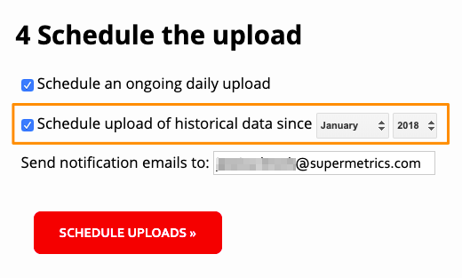 "Example configuration showing the option to ""Schedule upload of historical data since"" enabled and the date set to January 2018."